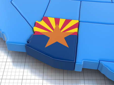 find us: Map of Arizona state with flag