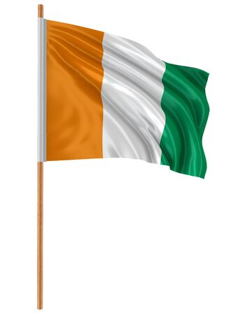 fabric surface: 3D Ivorian flag with fabric surface texture Stock Photo