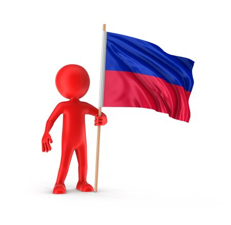 haitian: Man and Haitian flag. Stock Photo