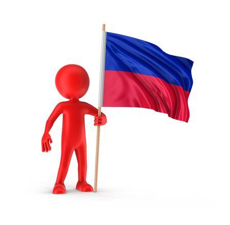 haitian: Man and Haitian flag. Stock Photo