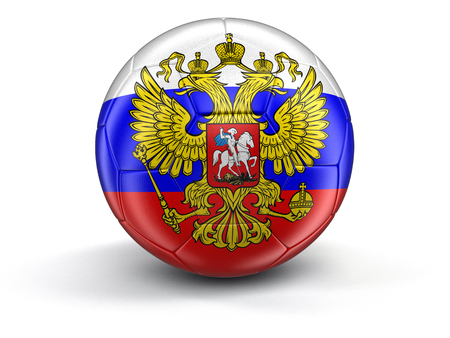 russian flag: Soccer football with Russian flag. Stock Photo