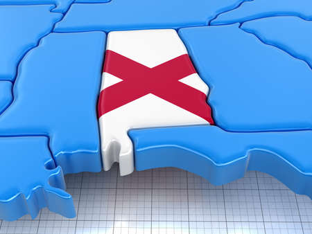 find us: Map of Alabama state with flag. Image with clipping path.
