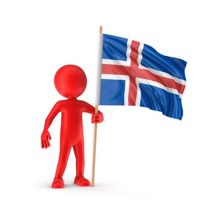 nations: Man and Icelandic flag. Stock Photo