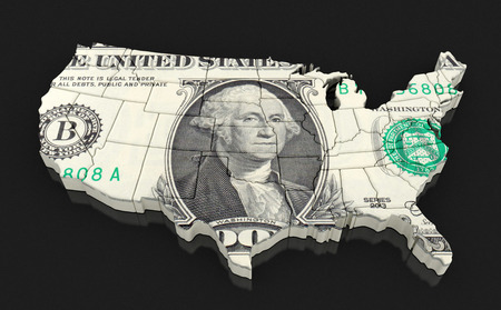 find us: Map of USA with dollar.