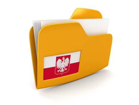 polish flag: folder and lists with Polish Flag. Image with clipping path Stock Photo