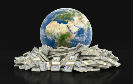 physical geography: Pile of Dollars and globe. Stock Photo
