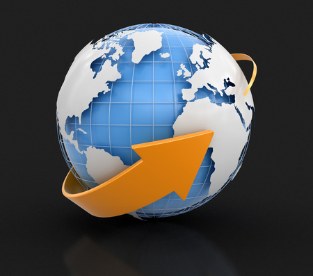 parallels: 3d Globe. Image with clipping path