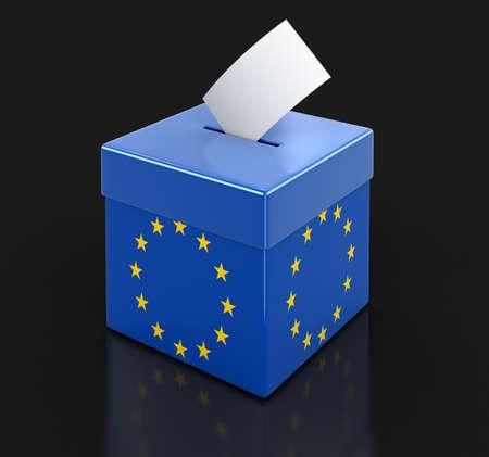 european union flag: Ballot Box with European union flag.