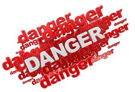 menace: Word Danger. Stock Photo