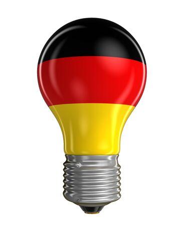 german flag: Light bulb with German flag. Stock Photo