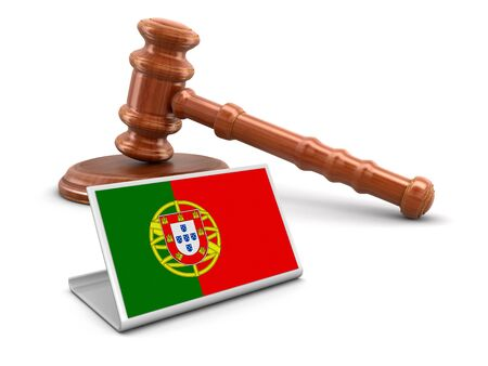 law of portugal: 3d wooden mallet and Portuguese flag.