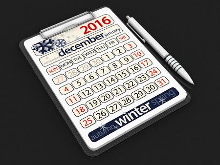 december: Clipboard with december.
