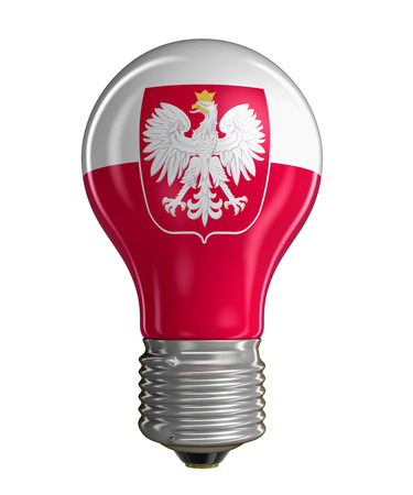 bandera de polonia: Light bulb with Polish flag.