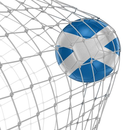 soccerball: Scottish soccerball in net.