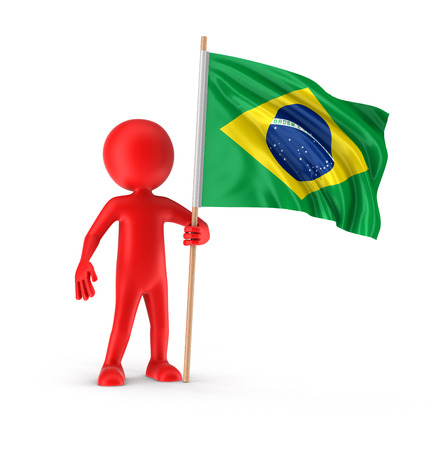 brazilian flag: Man and Brazilian flag Stock Photo