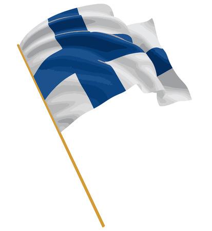 3D finlandés bandera con tejido textura superficial. Fondo blanco.  Vectores