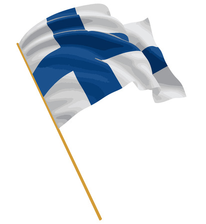 finnish: 3D Finnish flag with fabric surface texture. White background.