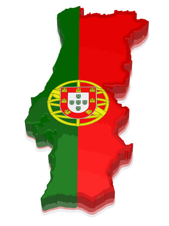 physical geography: Map of Portugal. 3d render Image.