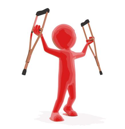男と松葉杖。
