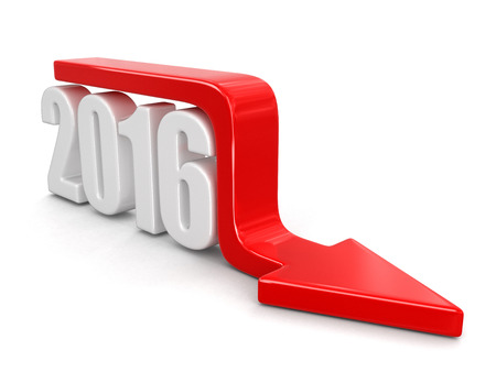moving down: 2016 with arrow down. Stock Photo