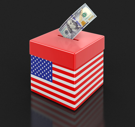 the americas: Ballot Box with USA flag and dollar. Stock Photo