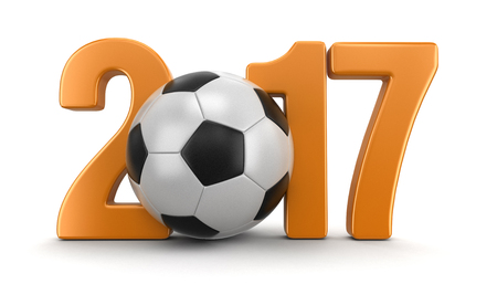 Soccer football with 2017. Stock Photo