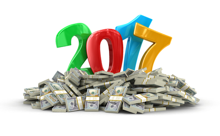 New Year 2017 and Dollars.