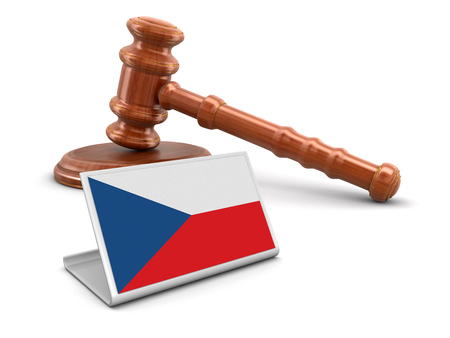 auctioning: 3d wooden mallet and Czech flag.