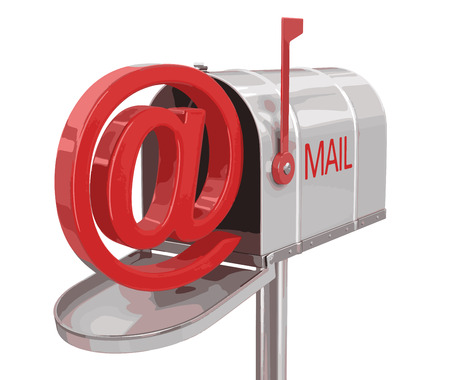 registered mail: Open mailbox with E-mail sign. Image with clipping path