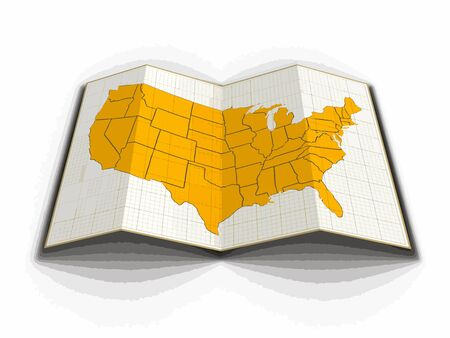 Map of USA. Image with clipping path. Illustration