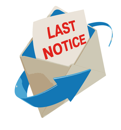 violator: Letter Last notice. Image with clipping path Illustration