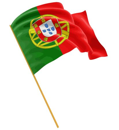 3D Portuguese flag with fabric surface texture. White background. Image with clipping path