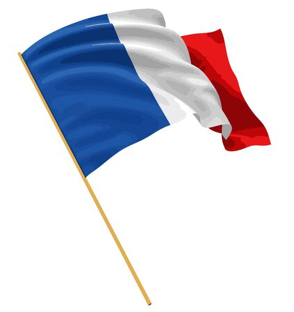 france painted: 3D French Flag with fabric surface texture. White background. Illustration