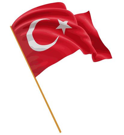 drapeau turc 3D avec la texture de la surface du tissu. Fond blanc. Image avec chemin de détourage