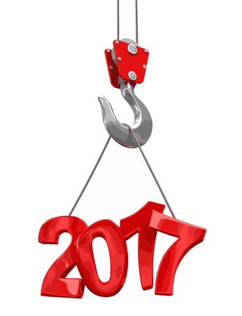 2017 on crane hook. Image with clipping path.
