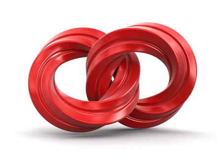 bound: Two bound twisted rings. Image with clipping path