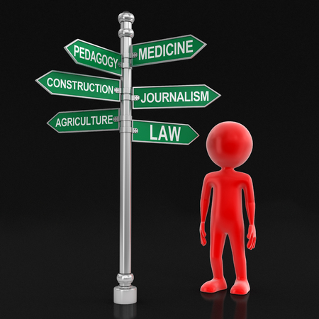 pedagogy: Man and Sign Directions. Image with clipping path