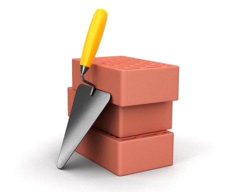 home addition: Bricks and Trowel. Image with clipping path