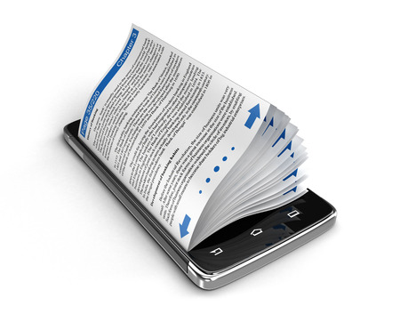 Touchscreen smartphone and business books. Image with clipping path. Stock Photo