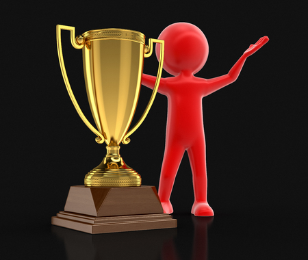 real trophy: Man and Trophy Cup. Image with clipping path