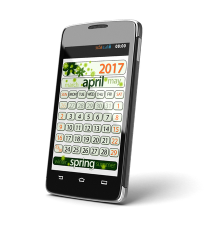 touchscreen: Touchscreen smartphone with april 2017. Image with clipping path.