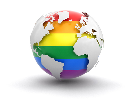 parallels: 3d Globe with Gay Pride color. Image with clipping path