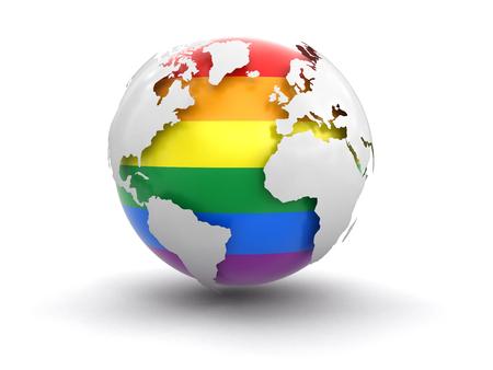 transexual: Globo 3d con el color del orgullo gay. Imagen con el camino de recortes Foto de archivo