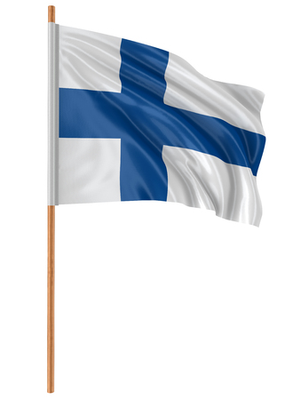 fabric surface: 3D Finnish flag with fabric surface texture. White background.