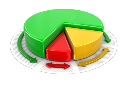 Pie chart in 3D. Image with clipping path Stock Photo