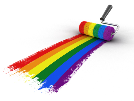 Paint roller with Gay pride flag. Image with clipping path