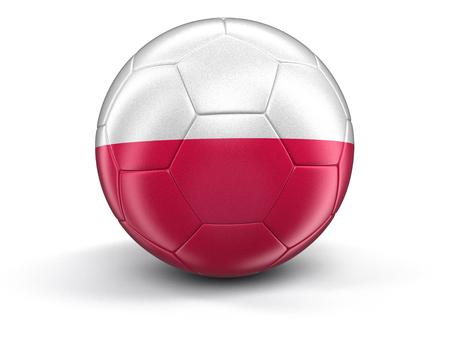 bandera de polonia: Soccer football with Polish flag. Image with clipping path Foto de archivo