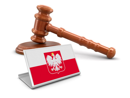 bandera de polonia: 3d wooden mallet and Polish flag. Image with clipping path Foto de archivo