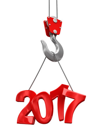 new construction: 2017 on crane hook. Image with clipping path.