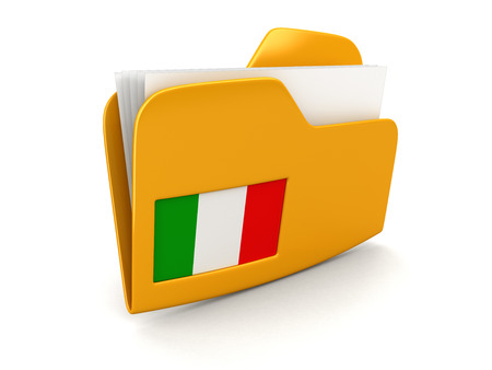 folder and lists with Italian Flag. Image with clipping path